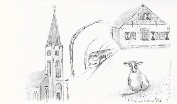 Tijdens de lezing van Theo Schouten ging het gesprek o.a. over deze tekening van Aukje Huisman in Maartensdijk met herkenbare objecten uit deze gemeente. Belangstellenden voor een afdruk op brief briefkaartformaat kunnen contact opnemen met Koos Kolenbrander, tel. 0346 211675, of e-mail kooskolenbrander@casema.nl.