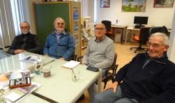 De evenementencommissie van de Historische Kring D'Oude School heeft veel werk verricht om een aansprekende tentoonstelling te kunnen samenstellen over 100 jaar Bilthoven. V.l.n.r.: Donald Noorhoff, Rob Herber, Marcel Jansen en Hans de Groot. Op de foto ontbreekt Ellen Drees.