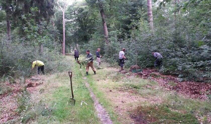 Een groep van 5 tot 7 vrijwilligers werkt op Landgoed Eyckenstein.