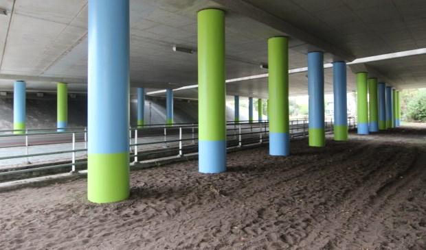 Kunst in wording: De pilaren onder het viaduct over de Maartensdijkse Dorpsweg staan er alvast gekleurd op. [foto Henk van de Bunt]