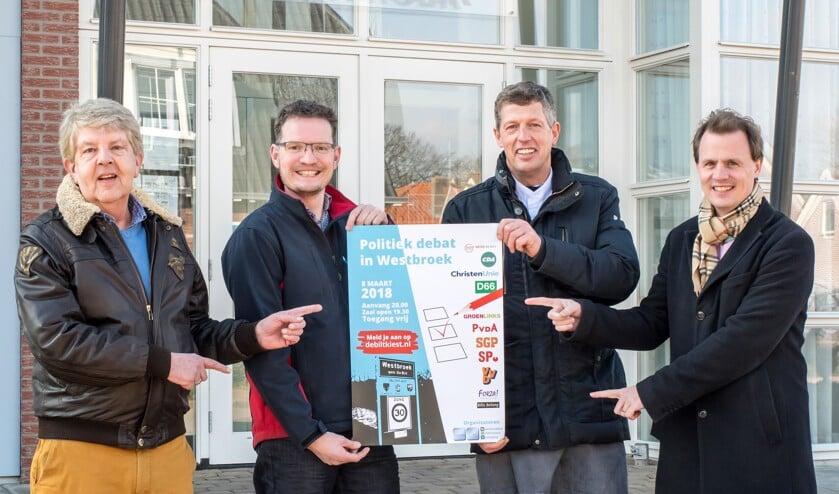 De kernen Maartensdijk en Westbroek zijn vertegenwoordigd door (v.l.n.r.) Joop van Rossum, Ruth Nagel, Willem Landwaart en Bas van Atteveldt.
