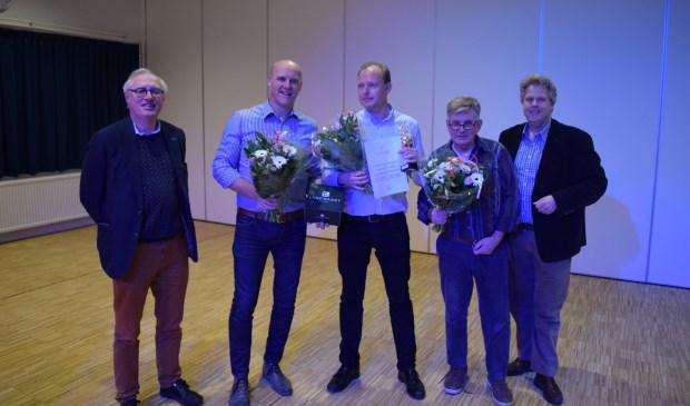 V.l.n.r. Henric de Jong Schouwenburg, Henny van der Heijden (3e plaats), Edwin Plug (1e plaats), Hans Stevens (2e plaats) en Gert-Jan Weierink.