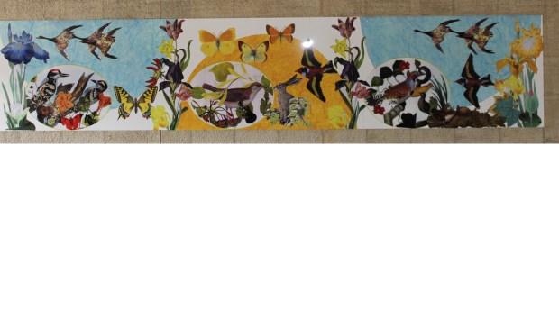 Het middelste van de drie panelen van het kunstwerk 'Kunst komt uit Kunst' op de opstand van het Groenekanse viaduct.