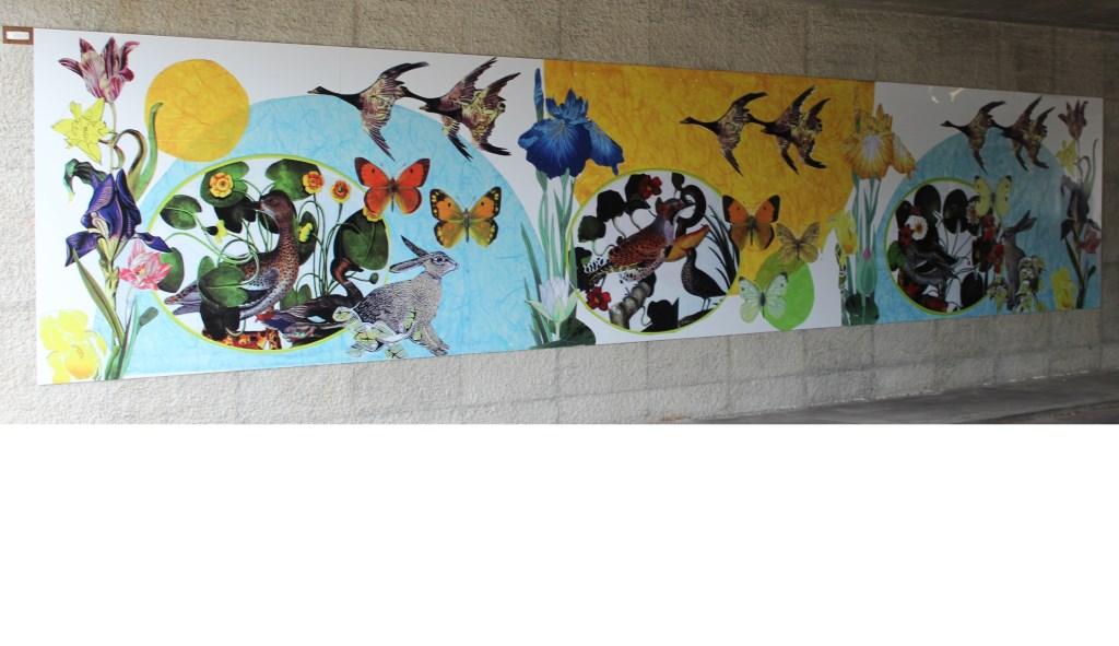 HvdB Oostelijke paneel Groenekan.jpg Het oostelijke deel van de drie panelen van het kunstwerk 'Kunst komt uit Kunst' op de opstand van het Groenekanse viaduct.  © De Vierklank