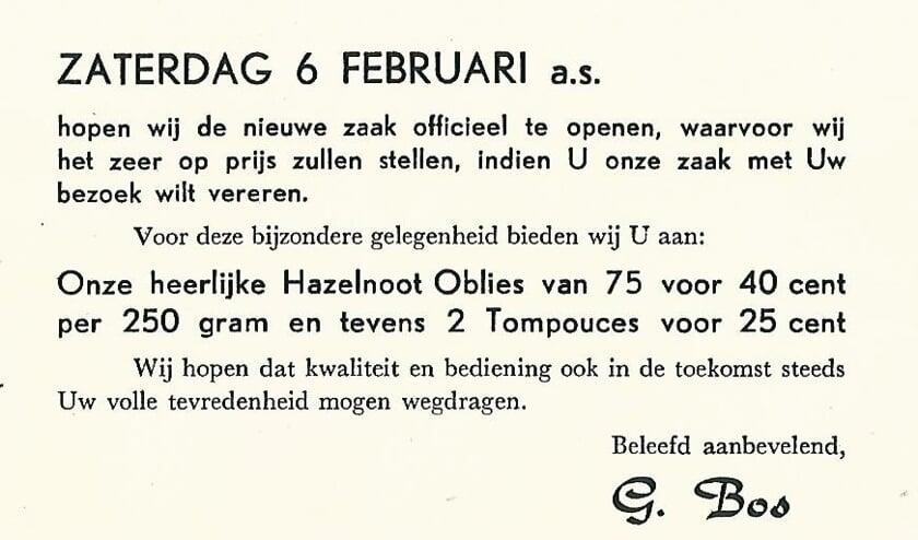 Grootvader G. Bos adverteerde al in 1953.