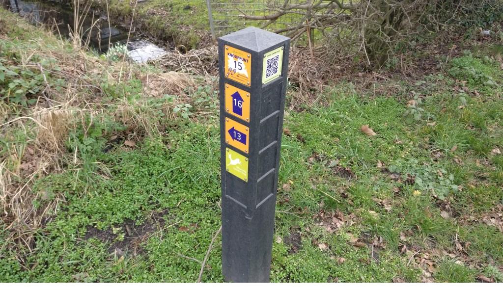 De aanduiding hoek Groenekanseweg en Hogenkampse pad is ook voorzien van code plaatje van de QR- route Groenekan, die op 8 maart operationeel zal worden.  © De Vierklank