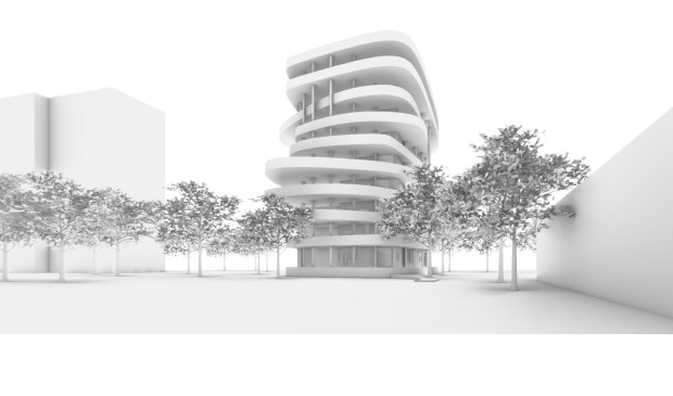 Een gedurfde schets van een appartementengebouw langs de Biltse Rading. (impressie woontoren door Natrufied Architecture)