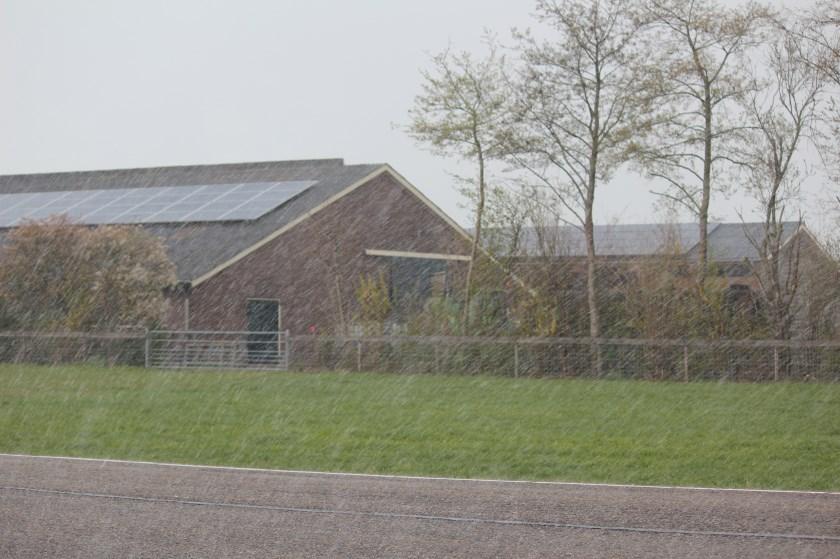 Zonnepanelen (nu even in de sneeuw) op bedrijfsgebouwen langs de Koningin Wilhelminaweg kunnen uiterst functioneel zijn.