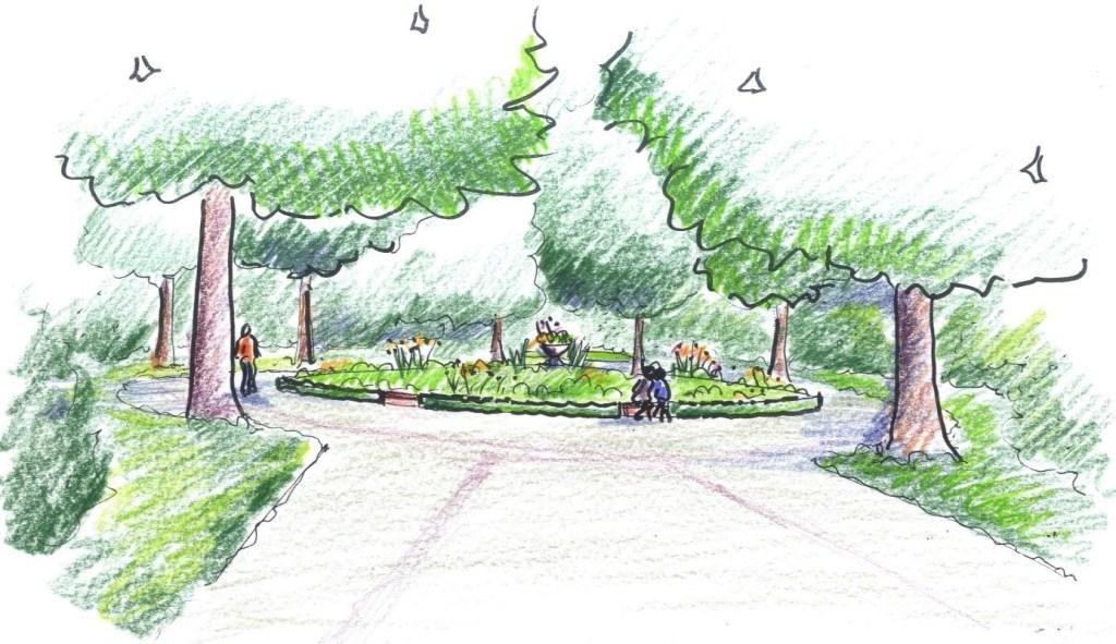 Eerste schets van het cirkelplantsoen (onderdeel van het totale plan).  © De Vierklank