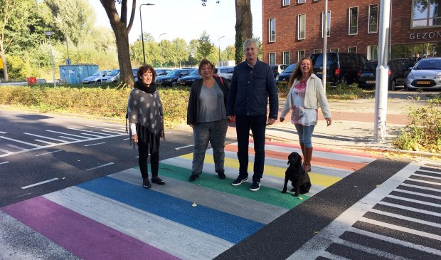 • Fractieleden van de VVD op het net aangelegde regenboogzebrapad.