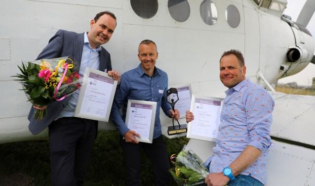 • Vlnr: Peter Vos (nominatie commercie), Robert van der Hek (journalistieke prijs) en Stephan Tellier (nominatie fotografie). Afwezig: Nico van Ganzewinkel (nominatie fotografie).