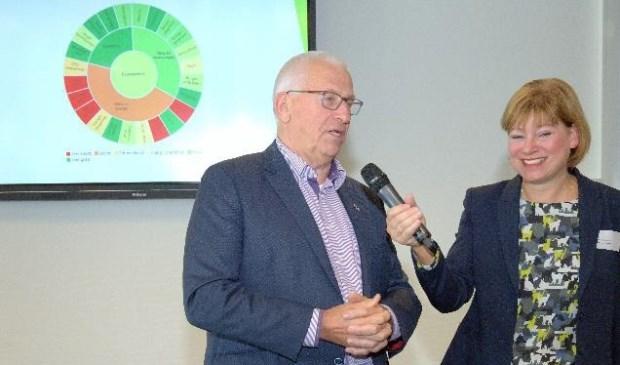 • wethouder Jan de Groot van de gemeente Giessenlanden tijdens het symposium in gesprek met Jacqueline van Dongen.