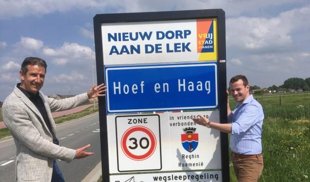 • Marco Meetz (links) is de bestuursvoorzitter van Dorpscomité Ons Hoef en Haag en Sjoerd Groot is eveneens bestuurslid.