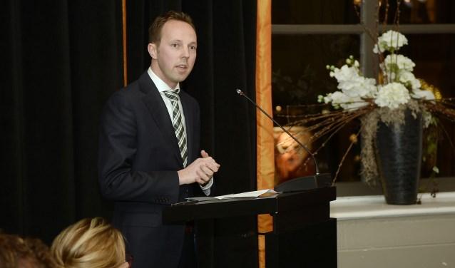 • Simon Buwalda in januari 2016 bij zijn aantreden als wethouder in de gemeente Zaltbommel.
