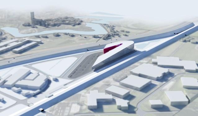 • Zo zou het Leisure Dome er uit kunnen gaan zien. Rechts het spoor, links de A2.