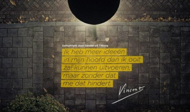 • Illustratie van het briefcitaat dat is te zien in de Vincent van Goghstraat in Lekkerkerk.