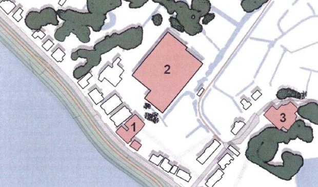 •  Een schets van de drie locaties: 1. Wooncentrum Baas, 2. kassen Jonker en 3. voormalige wasserette.