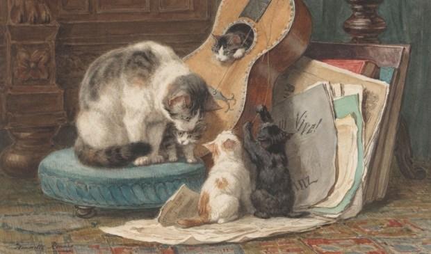 • Henriette Ronner-Knip, Een kat met drie jongen.