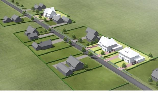 • Aan de Liesveldsesteeg is ruimte voor twee woningen (de derde, linksboven op het plaatje, is al verkocht).