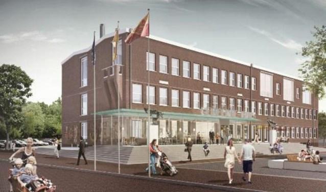 • Een impressie van hoe het gerenoveerde gemeentehuis van Alblasserdam eruit kan komen te zien.