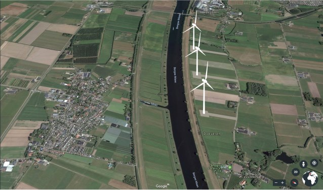 Een impressie van de windmolens, zoals Energie Gezond die op de website heeft staan.