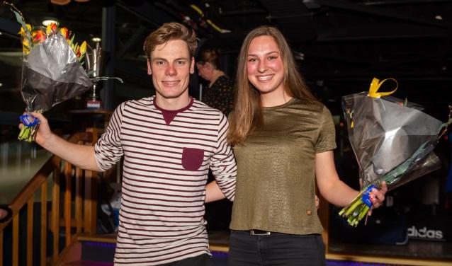 • Clubkampioenen Remco Schouten en Sandra Dekker.