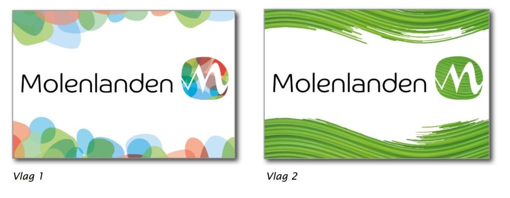 • De twee vlaggen van de nieuwe gemeente Molenlanden.  © Klaroen