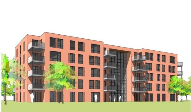 • Artist impression van het te bouwen wooncomplex aan de Meerkoetstraat in Krimpen aan den IJssel.