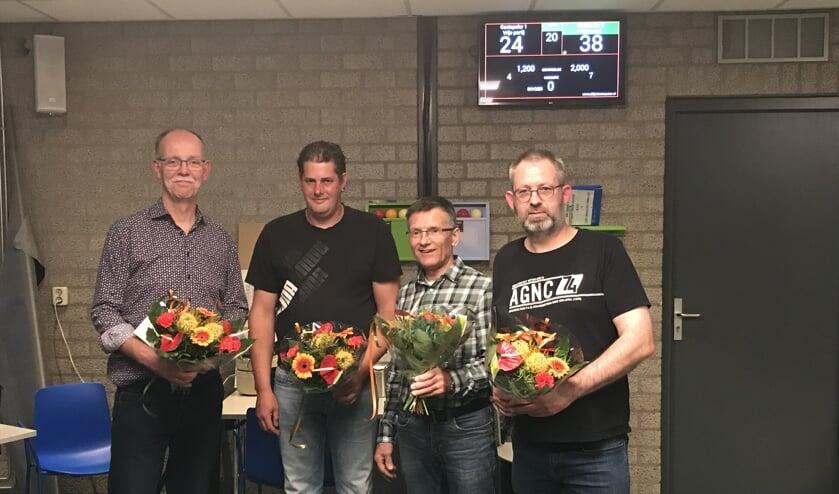 • De vier finalisten bij KBC De Linde, met Gerard Romijn als eerste van links.