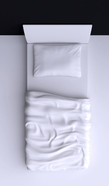 Bed with pillow and blanket in the corner room, 3d illustration. Top view.
