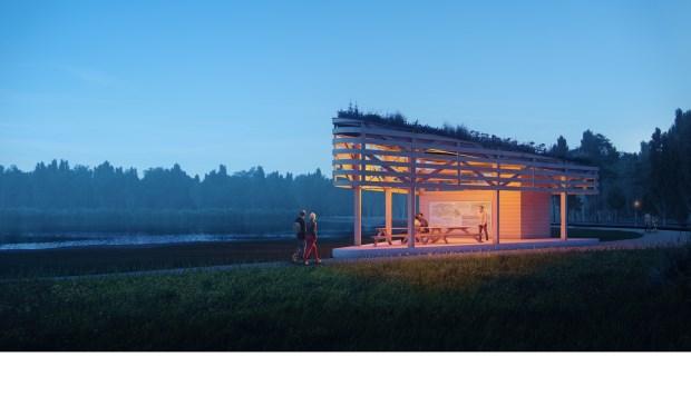 • Ontwerp van het te bouwen paviljoen.