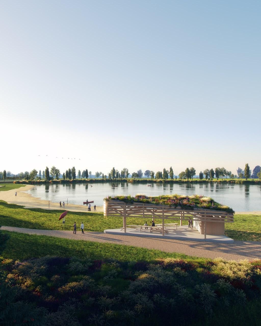 • Ontwerp van het te bouwen paviljoen.  Foto: studio Frame © Krimpenerwaard