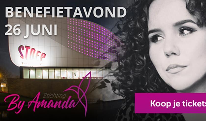 • De banner voor de benefietavond voor Amanda.