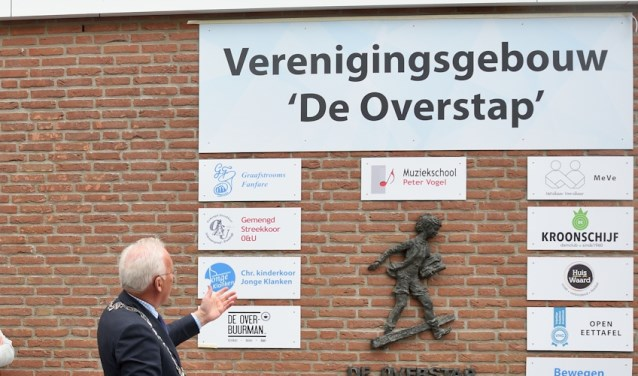 • Burgemeester Van der Borg tijdens de opening van de Overstap.