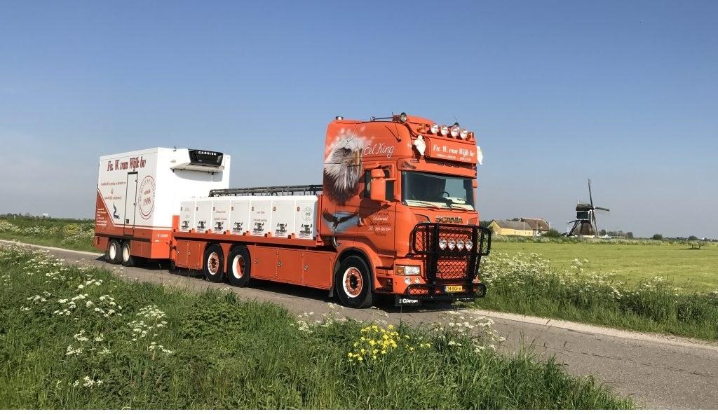 • De vrachtwagen van Marco Brandwijk.  © Alblasserwaard