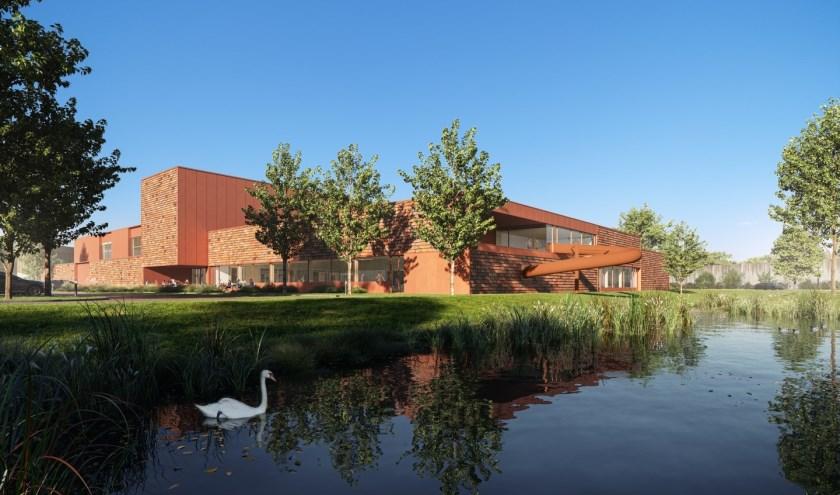 • De achterkant van het nieuwe complex, gezien vanaf de Hogeweg. Te zien is onder andere de glijbaan.