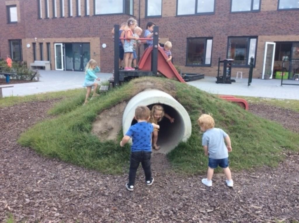 De speelplaats is voorzien van uitdagende, aantrekkelijke en groene inrichting. Foto: Brede School Asperen © Leerdam