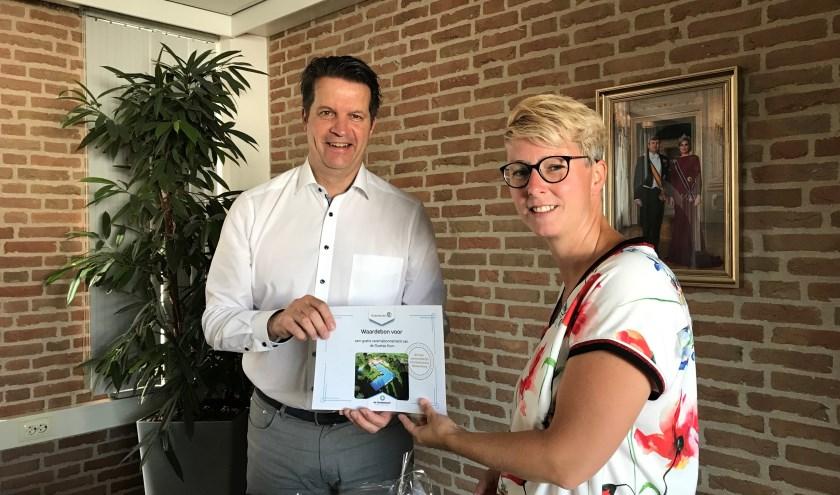 Margreet Kwakernaak uit Giessenburg. Zij bedacht de winnende naam voor de activiteitenzone in Giessenburg.