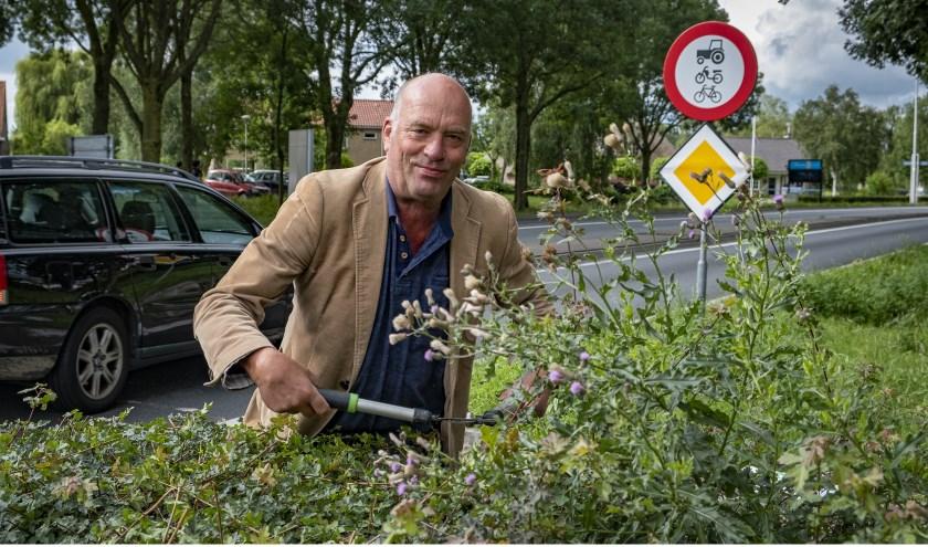 • VVD-raadslid knipt met z'n eigen heggenschaar de beplanting op de rotonde.