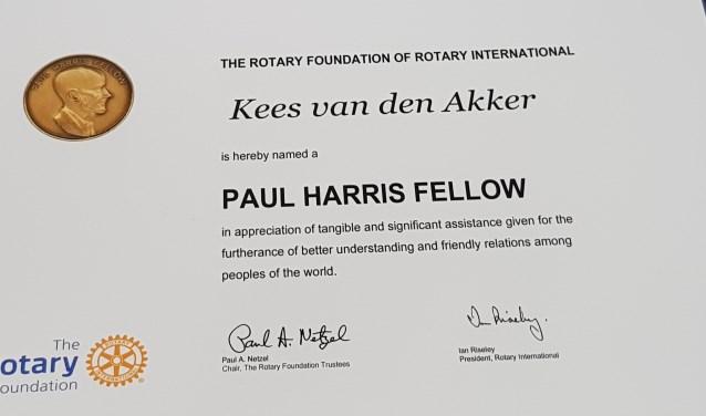 Paul Harris Fellow erkenning  | Fotonummer: 687be7