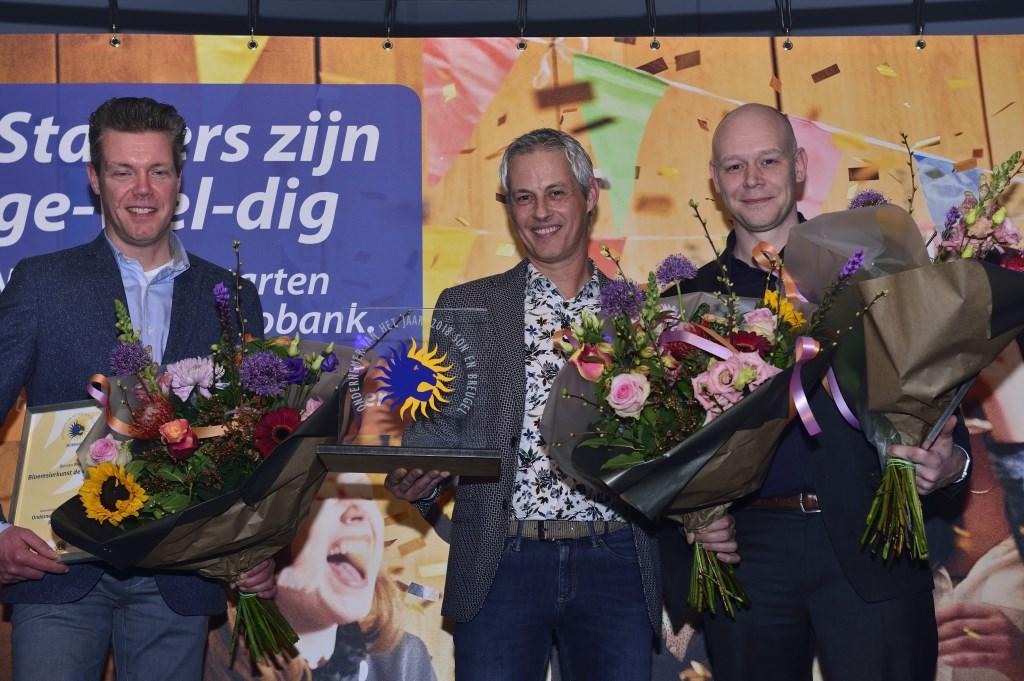 Ondenemersverkiezing 2018, Duncan Wijers (l), winnaar Koen Sol (m) en Erik van den Berg (r) Foto: Wil Feijen © DeMooiSonenBreugelKrant