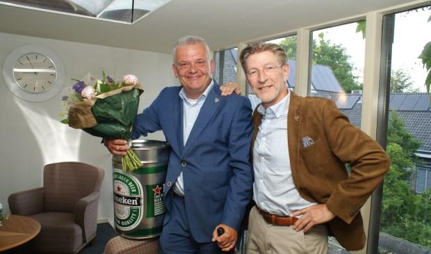 Daan Binnendijk (l) en Hans Rasch, de oud-wethouders van Voorschoten. Foto: VSK