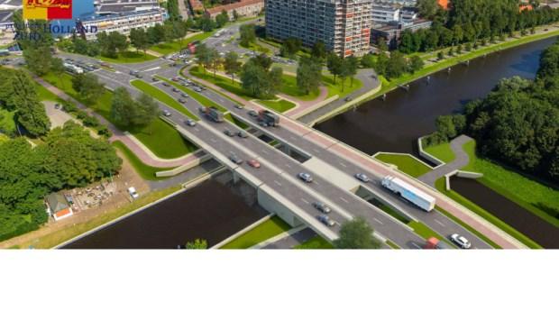 Voordat het Lammenschansplein en omgeving er zo uit zien, dreigt het verkeer hier nog veel meer vast te lopen dan nu al het geval is. (Foto: Provincie ZH)