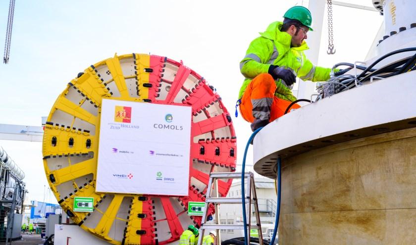De tunnelboormachine die half juni onder Voorschoten door gaat boren. Foto: Steven van Veen