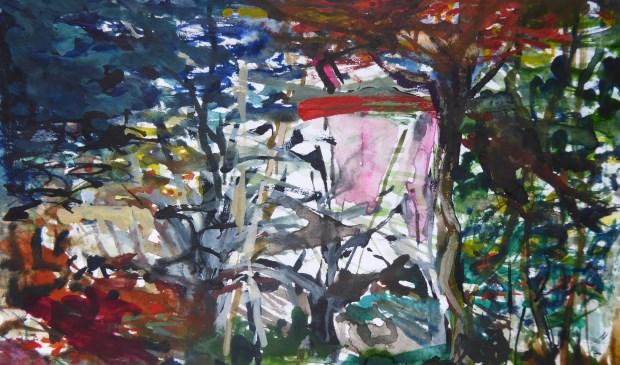 Annemarie Spijkerman brengt onder meer deze aquarel van 20x30 cm, getiteld Herfst VI, in op de Algemene Ledenexpositie van de Voorschotense Kunstkring, die van 12 januari t/m 3 februari wordt gehouden op de zolders van het Ambachts- en Baljuwhuis (Foto: PR)