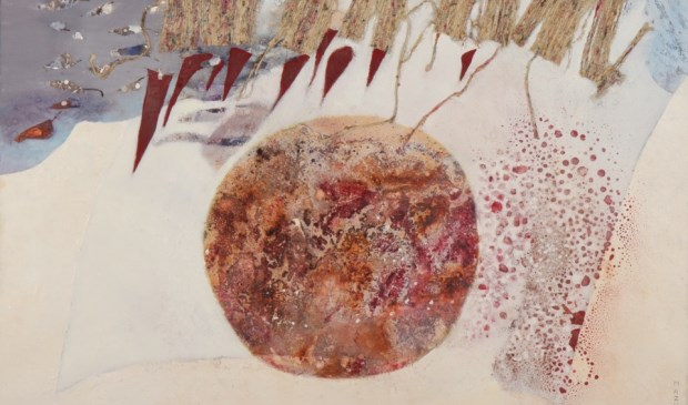 Eén van de werken van Fanny Mazure, dat u nog tot en met 10 maart kunt komen bekijken op de zolders van het Ambachts- en Baljuwhuis (Foto VKK)
