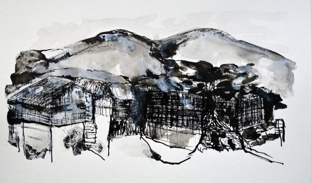 Het eeuwenoude stadje Magome in de Japanse Alpen door de ogen van Elisabeth Vuez, van 23 maart tot en met 14 april te zien op de zolders van het Ambachts- en Baljuwhuis. (Foto VKK)