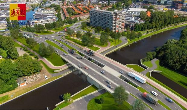 Het duurt nog een paar jaar maar zo komt de Lammenschansbrug er uit te zien. Foto: Provincie Zuid-Holland