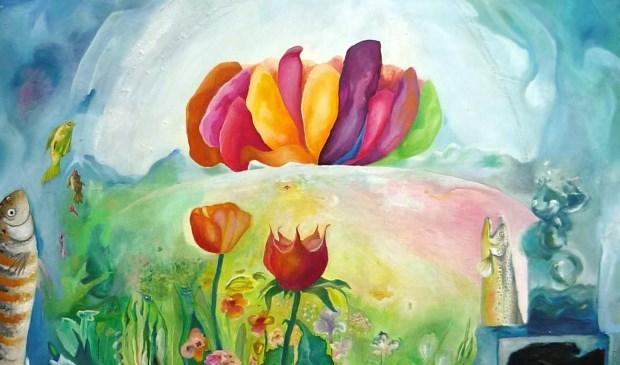 Jenneke van der Leedens Wereld, een kleurrijk en grappig schilderij van 27 april tot en met 19 mei voor het eerst te zien in Voorschoten (Foto VKK)