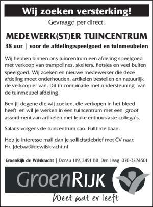 sollicitatiebrief tuincentrum HetKrantje Online.nl   Verkrachter mogelijk in Haaglanden sollicitatiebrief tuincentrum